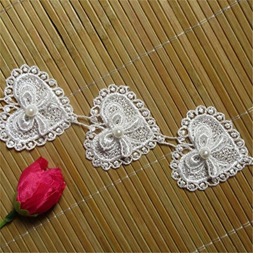 3 Meters Heart Bow Pearl Lace Edge Trim Ribbon 5.2 cm Width Vintage Style White Edging Trimmings Fabric Embroidered Applique Sewing Craft Wedding Dress Embellishment DIY Cards Hats Clothes Embroidery