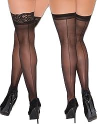 8b4f385506161 Womens Black Back Seam Thigh High Stockings For Garter Belts-2 Pack