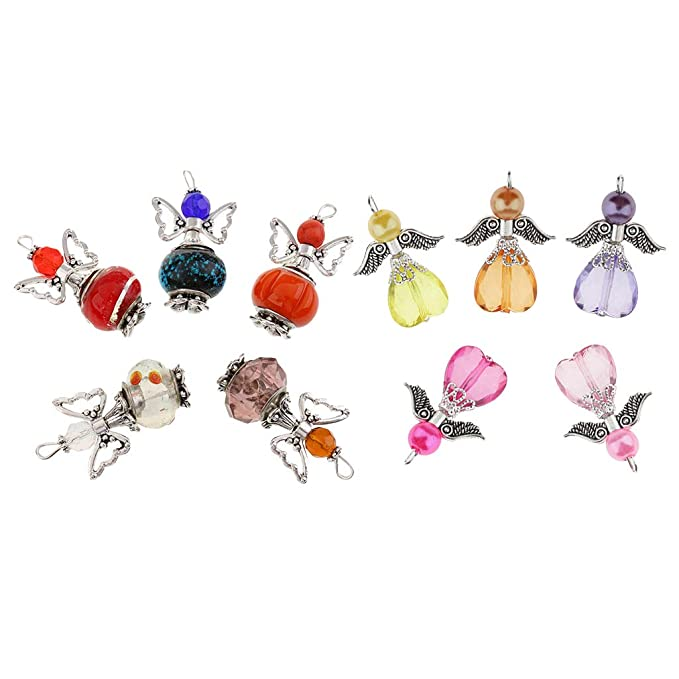 10pcs Colorful Alloy Acrylic Angel Wings Charms Pendants for Jewelry Making