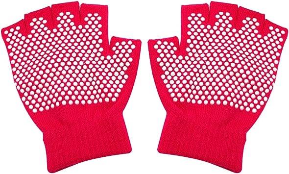 Guantes de Entrenamiento Antideslizantes Medio Dedo Guantes de algodón Máquina Guantes cómodos de Punto para Deportes de Yoga (Rosy) Guante: Amazon.es: Deportes y aire libre