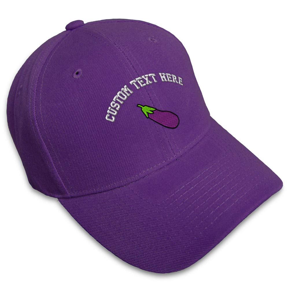 Custom Baseball Cap Eggplant Vegetable Style A Embroidery Acrylic Strap Closure