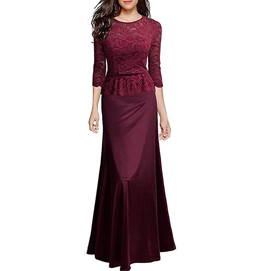 DUJUANNIAO Chic Women Long Lace Christmas Dress Vintage Evening Party Dress Wedding Sexy Maxi Dress at Amazon Womens Clothing store: