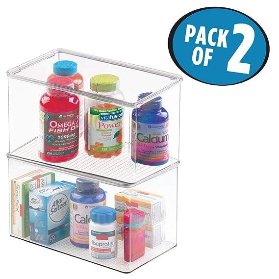 mDesign Juego de 2 cajas organizadoras extra grandes - Cajas de plástico con tapa apilables para medicamentos - Recipientes de plástico para organizar ...