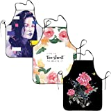 FRICSTAR Cool Apron Red Rose Flower Ribbon Canvas
