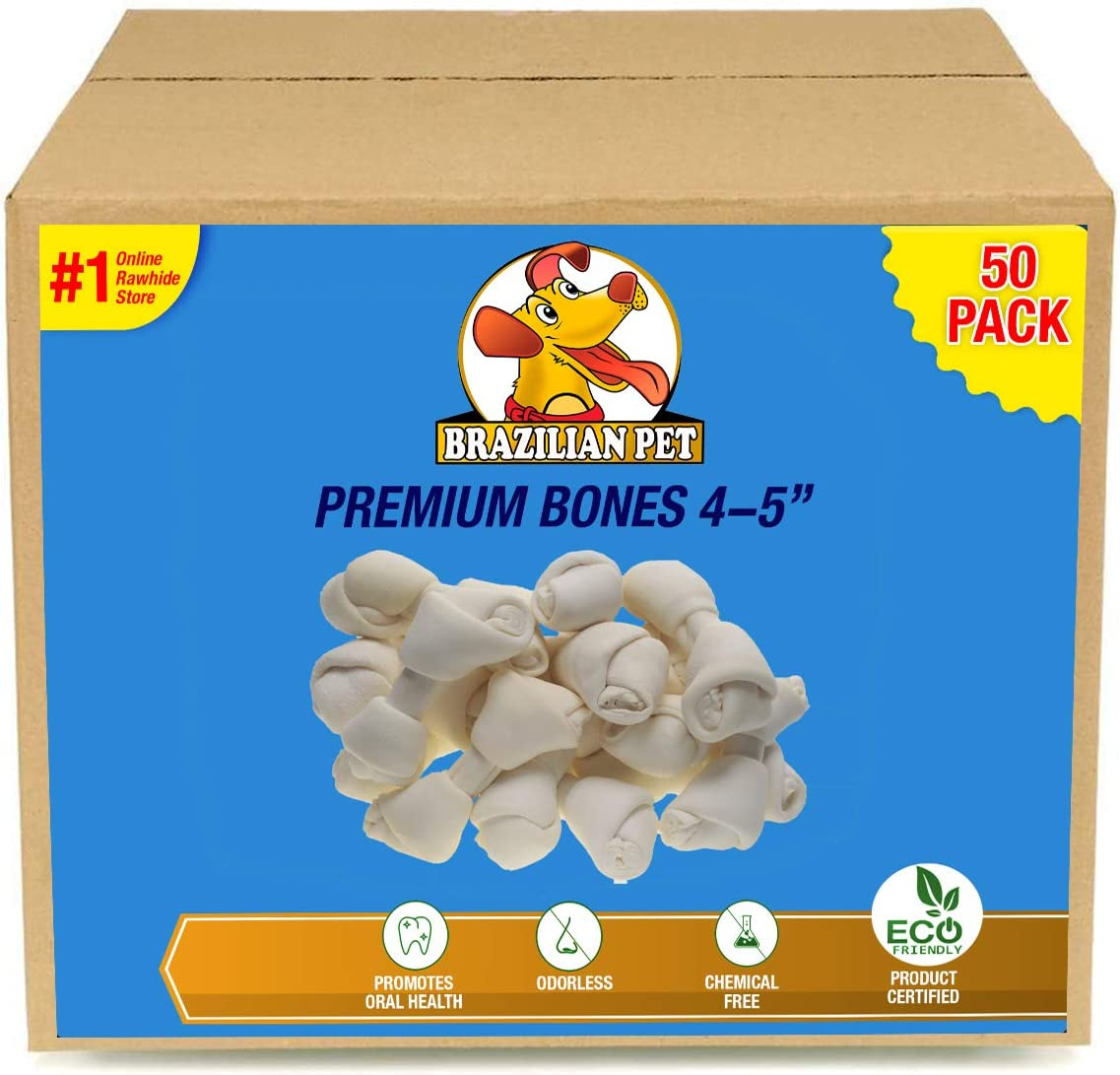 4-5 Inch Premium Dog Bones –Chewing Dog Treat Made with The Best Rawhide 100% Natural, No Additives, Chemicals or Hormones Natural Grass Fed in South America - USDA/FDA Approved 618fn6LjMhL