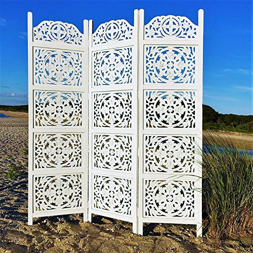 Whole House Worlds The Heritage Home Farmhouse Room Divider, Vintage Style Magnolia Medallions, Handcrafted of Sustainable Mango Wood, Rustic White, Distressed Finish, 6 Ft Tall (72 x 59) By (Heritage Carved Dining Table)