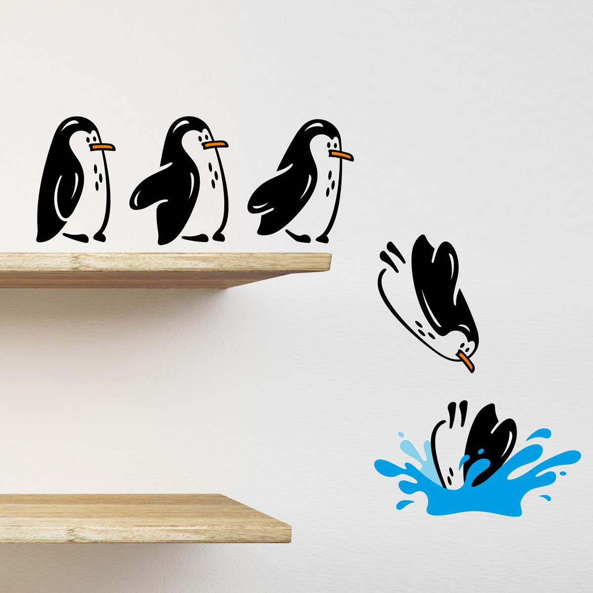 Wall4stickers Pingüinos Nevera Estante Pegatina Saltando Divertido ...