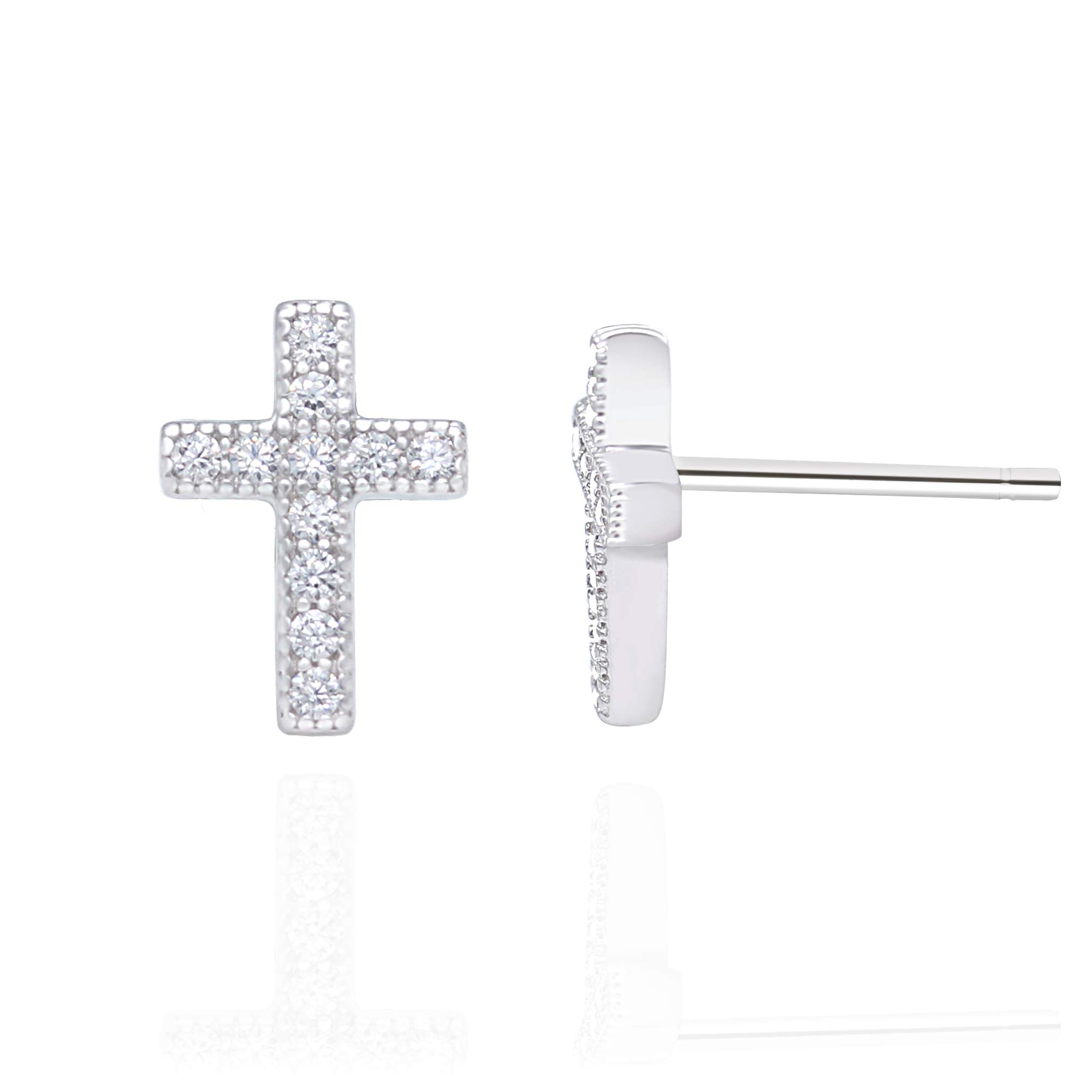 Rhodium Plated Sterling Silver Cubic Zirconia Classic Mini Cross Stud Earrings