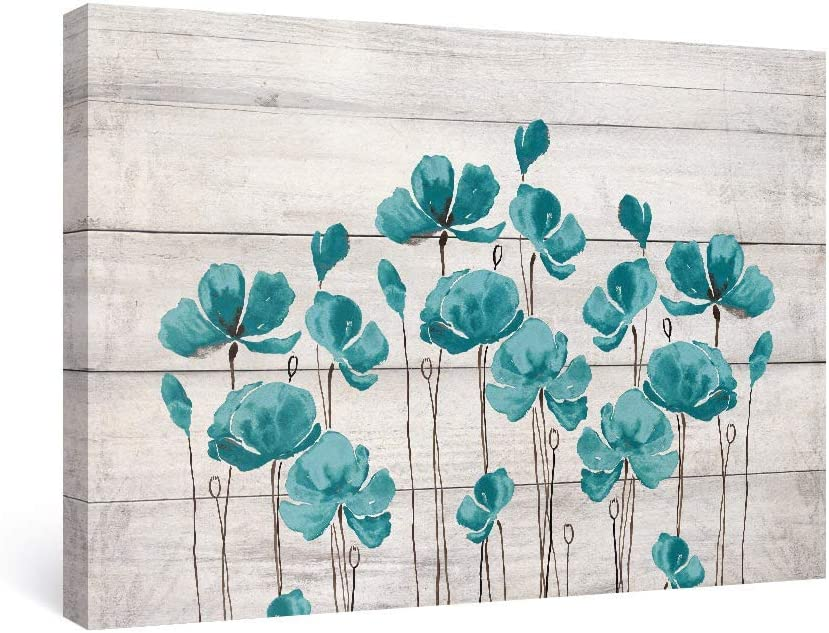 SUMGAR Large Wall Art Bedroom Teal Wall Decor Farmhouse Flower Canvas Paintings Floral Pictures,36x24 inch