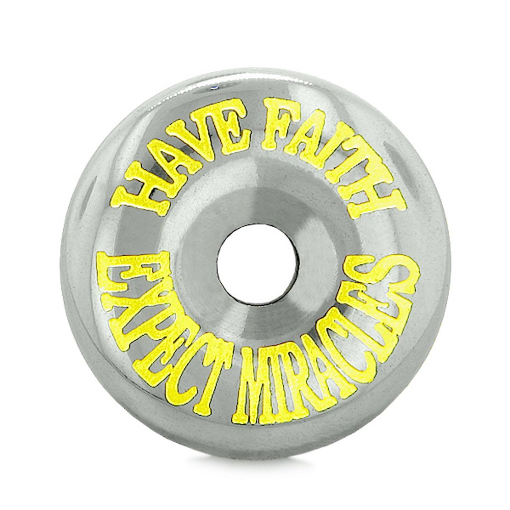 Inspirational Have Faith Expect Miracles Amulet Coin Lucky Charm Donut Hematite Pendant 22 inch Necklace