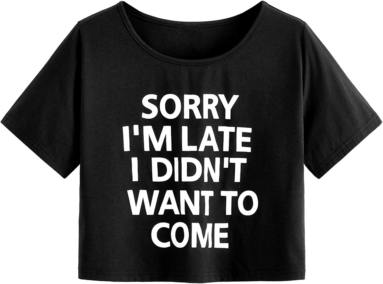 SweatyRocks Women's Casual Short Sleeve Print Crop Top T Shirt Summer Tees