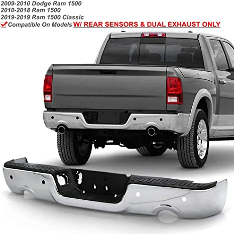 ACANII For 2009-2018 Dodge Ram 1500 w//Dual Exhaust /& Sensor Holes Chrome Steel Rear Step Bumper Complete Assembly