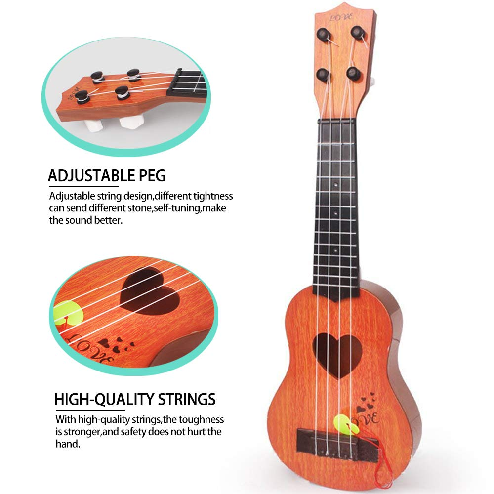Local Makes A Comeback Juguete de madera para guitarra Mini de cuatro cuerdas puede tocar en la iluminaci/ón Juguete de m/úsica infantil temprana para ni/ños