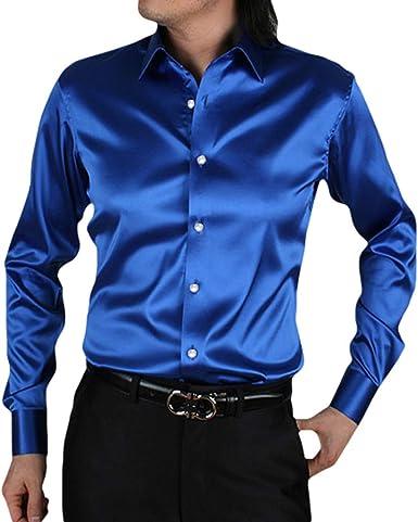 kunfang Hombre Satén de Seda Camisa de Trabajo Cuello Kent Regular fit Tops Elasticidad Color Liso Blusas: Amazon.es: Ropa y accesorios