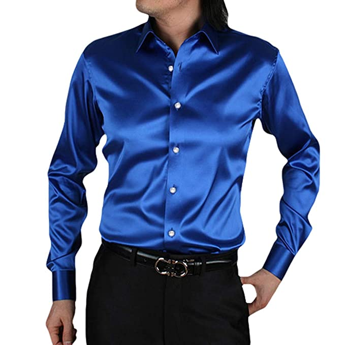 b0e7da7596a Camisa Formal para Hombre Slim Fit Manga Larga Camisa Casual Seda Satinado  Color Sólido Tops Cuello de Solapa Lisa Camisa Empresarial: Amazon.es: Ropa  y ...