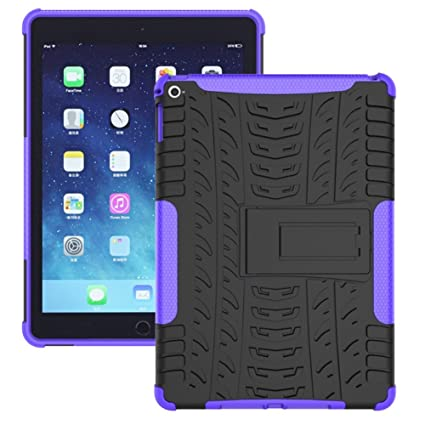 lowest price a910e 775fe iPad Air 2 Heavy Duty Case DWaybox Hybrid Rugged Armor Hard Back Cover Case  with Kickstand for Apple iPad Air 2 9.7 Inch 2016 / iPad 6 (Purple)
