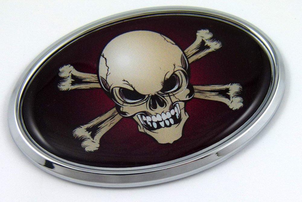 Aplique Cromo Parachoques Ovalado Piratas Craneo Autoadhesiv