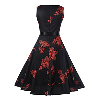 Women Dress Godathe Women Vintage Sleeveless O Neck Printed Bow Evening Party Prom Swing Dress S