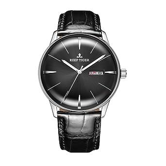 Reef Tiger Classic Dress Watches Mens Convex Lens Glass Mechanical Watches Calfskin Strap RGA8238 (RGA8238