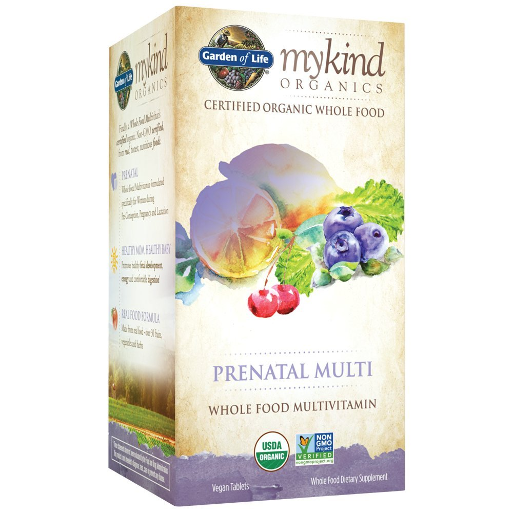Garden of Life Organic Prenatal Multivitamin Supplement with Folate - mykind Whole Food Prenatal Vitamin, Vegan, 180 Tablets