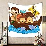Gzhihine Custom tapestry Noahs Ark Decor Tapestry Illustration of Many Animals Sailing in the Boat Mythical Journey Faith Giraffe Story Art Bedroom Living Room Dorm Decor 60 x 80 Multi