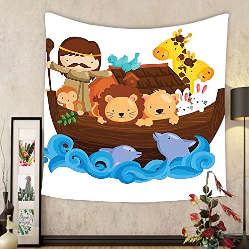 Gzhihine Custom tapestry Noahs Ark Decor Tapestry Illustration of Many Animals Sailing in the Boat Mythical Journey Faith Giraffe Story Art Bedroom Living Room Dorm Decor 60 x 80 Multi by Gzhihine