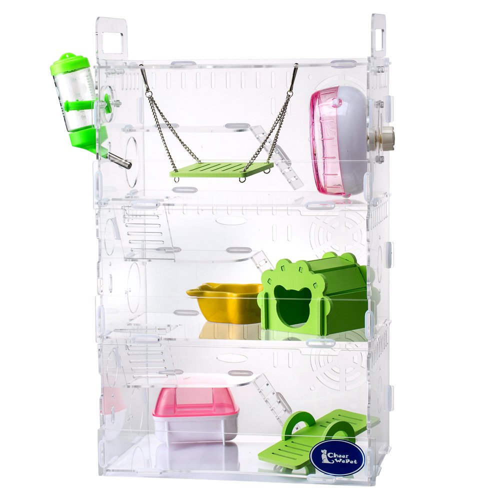 Transparent 3 Floors Hamster Glass Cage-Playground (Type A)