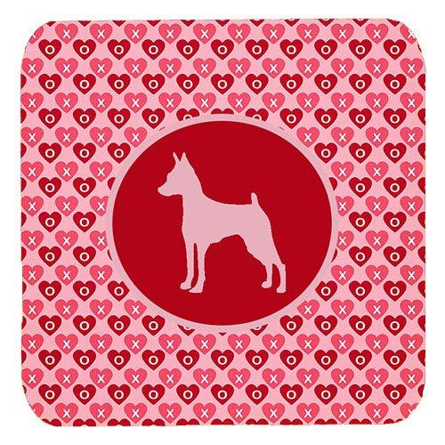 (Caroline's Treasures SDK1104-A-FC Min Pin Valentine Hearts Foam Coasters (Set of 4), 3.5