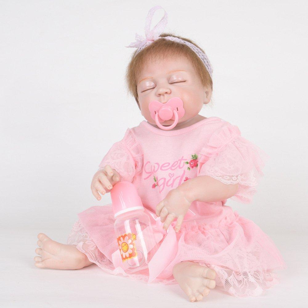LIJUN Renacimiento Muñeca De Silicona Juguetes para Niños Regalos Muñecas Simulación Bebé Pegamento Completo Muñeca De Silicona De Baño De Silicona Bebé 55 Cm,A