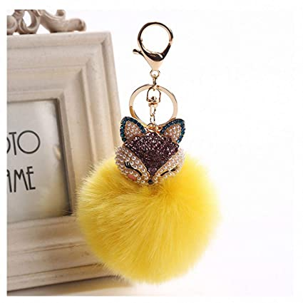 Amazon.com  Womens Charms Crystal Faux Fox Fur Keychain Women Trinkets  Suspension On Bags Car Key Chain Key Ring Toy Gifts Llaveros Jewelry 7C0394  Yellow  ... 246df6cc9d