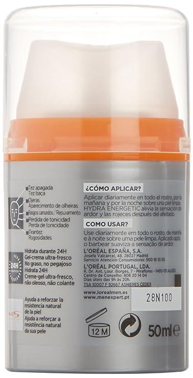 LOréal Paris Men Expert 24H Hydra Energetic Dado Hidratante Anti-Fatiga - 50 ml: Amazon.es: Amazon Pantry