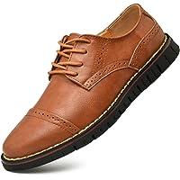MoodengBrogue Oxford con Cordones,Zapatos de Cuero Hombre Negocios