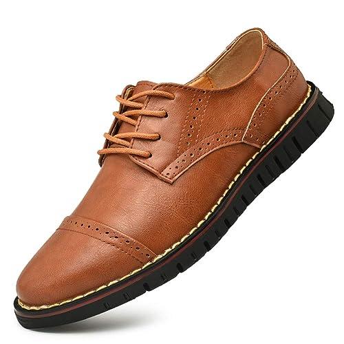 Brogue Oxford con Cordones,Zapatos de Cuero Hombre Negocios Vestir Derby Informal Boda Calzado Mocasines Zapatos Casuales Holgazanes