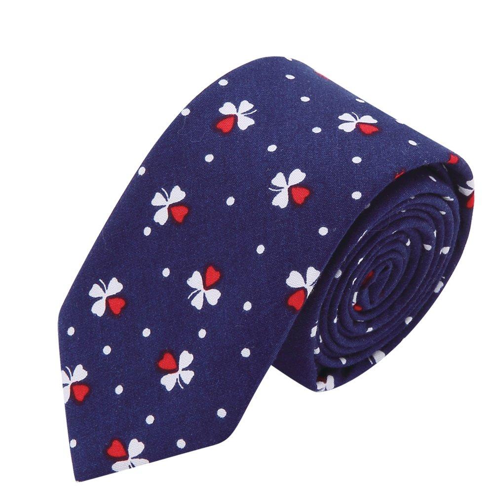 AUSKY 4 Packs Mens Ties Fashion Floral Printed Cotton Slim Skinny Neckties (Floral F) by AUSKY (Image #4)
