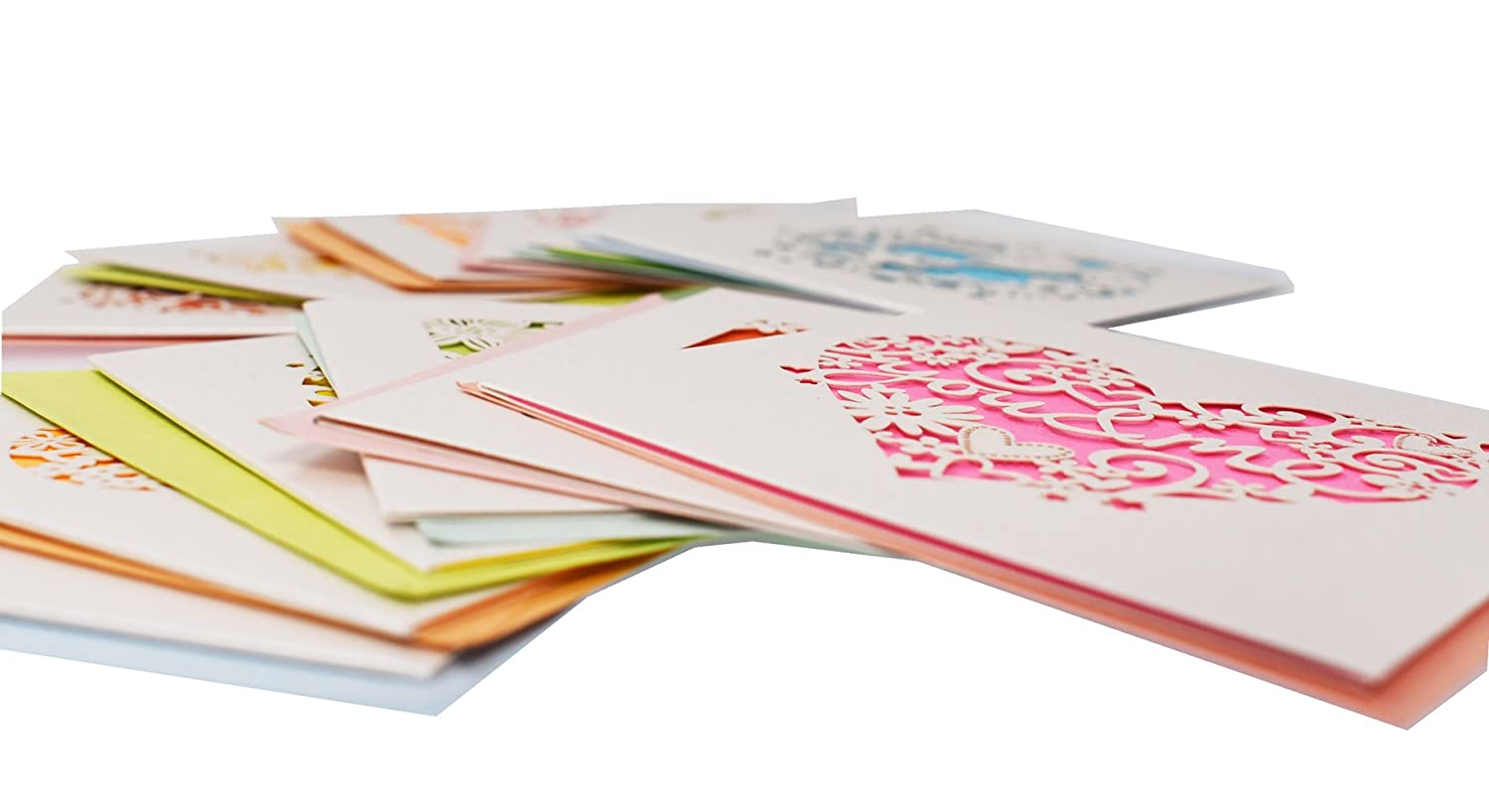 RayLineDo/® 12pcs Assorted Design and color Blank Greetings Cards with Envelopes Cutout Gift Card Folding Cards for Wedding Graduation Valentine and Christmas Birthday Bridal and Baby Shower