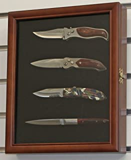 Knife Display Case Shadow Box, With Glass Door, Wall Mountable Walnut  Finish (KC02