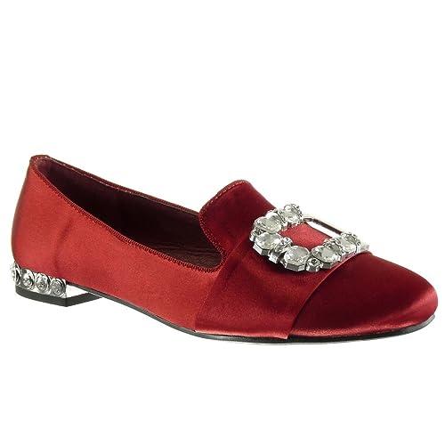 Angkorly - Zapatillas de Moda Mocasines Slip-on Mujer Hebilla Joyas Tachonado Talón Tacón Ancho 1.5 CM: Amazon.es: Zapatos y complementos