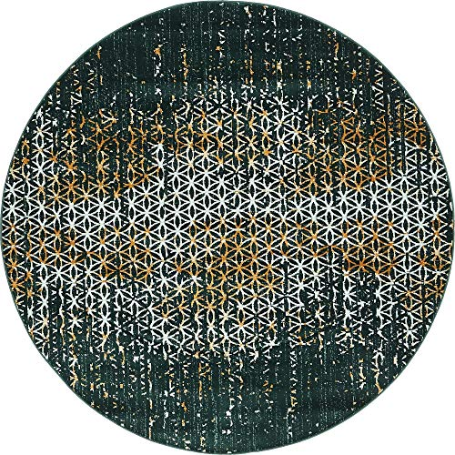 Unique Loom Chimera Collection Geometric Abstract Modern Vintage Teal Round Rug (6' 0 x 6' 0)