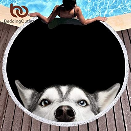 Amazon.com: Bedding Outlet Husky Large Round Beach Towel ...
