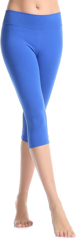 ABUSA Cotton Yoga Capri Pants Womens Tummy Control Workout Leggings Non See-Through Fabric L Blue