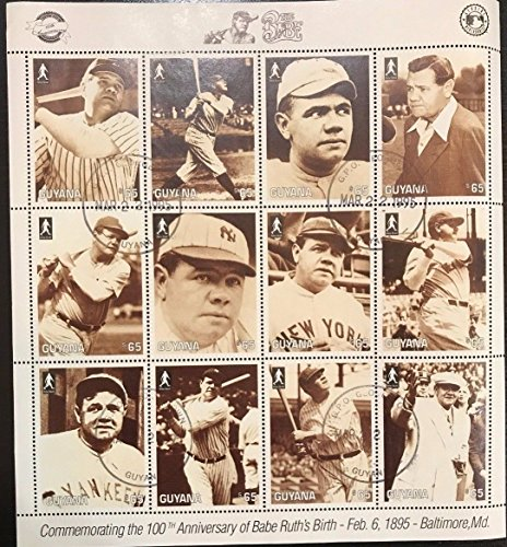 (Imperial Mint Babe Ruth - Guyana 1995 The Babe Stamp- Sheetlet of 12 Scott #2915)