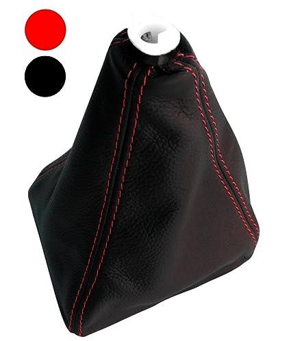 Funda para palanca de cambios 100/% Piel genuina negro con costuras de color rojo AERZETIX