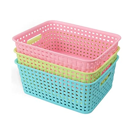 Bon Nicesh Plastic Colored Storage Baskets, Set Of 3 By Nicesh