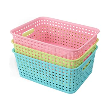 office storage baskets. exellent baskets nicesh plastic storage baskets for household office supplies set of 3 intended
