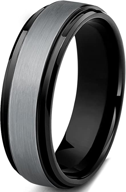 Tungary 6mm Black Brushed Tungsten Rings for Men Grooved Center Wedding Engagement Band Size 6-13