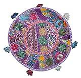 khushvin Bohemian Indian Patchwork Ottoman purple Vintage Sari Patchwork Ottoman Traditional Handmade Pouf Indian Patchwork Foot stool Ottoman 18x18x14