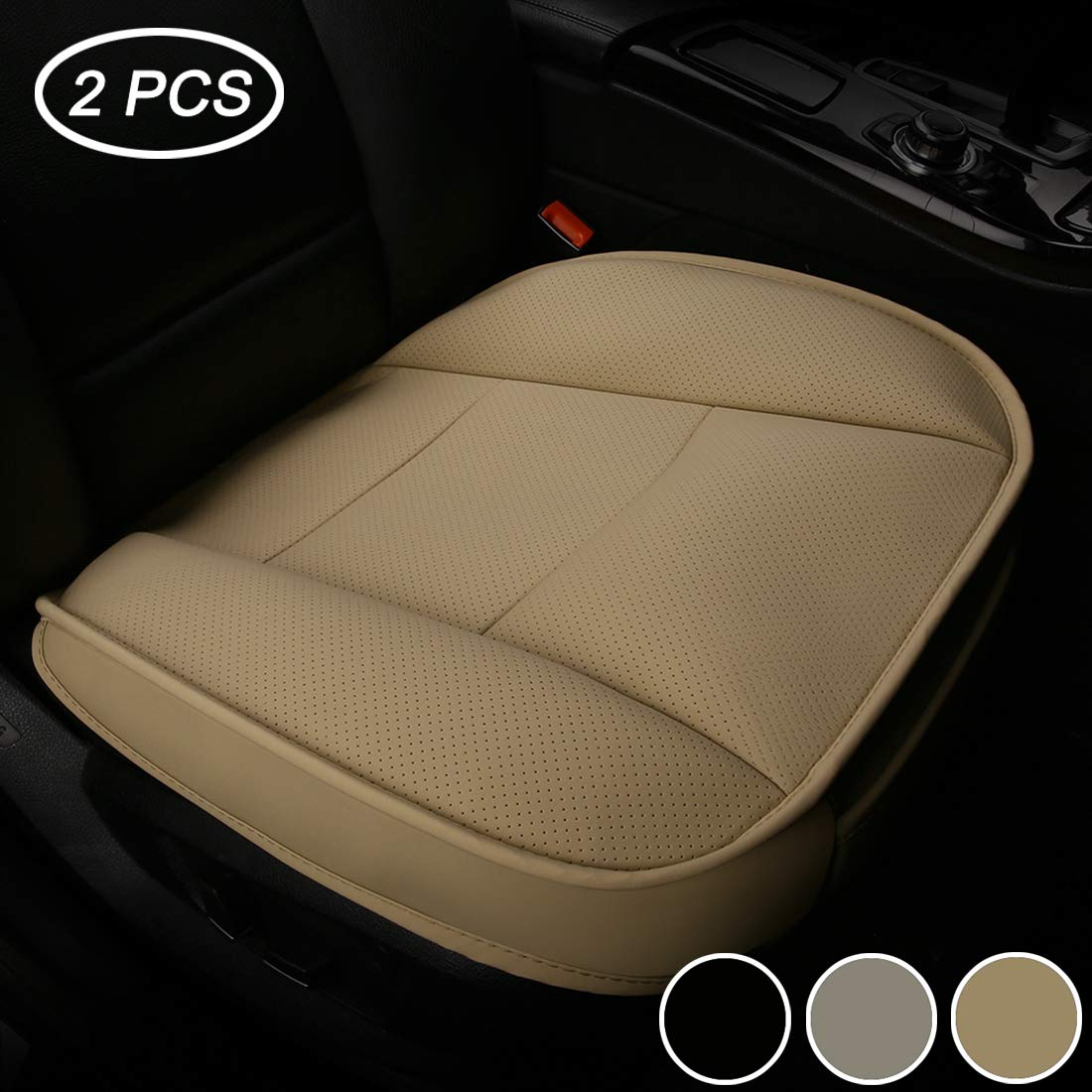 LUOLLOVE Luxury PU Leather Car Seat Covers Pads Universal for Front Seats, Soft Comfortable,Wrapping Edge Without Backrest,52 * 51 cm (2-Pack, Beige)