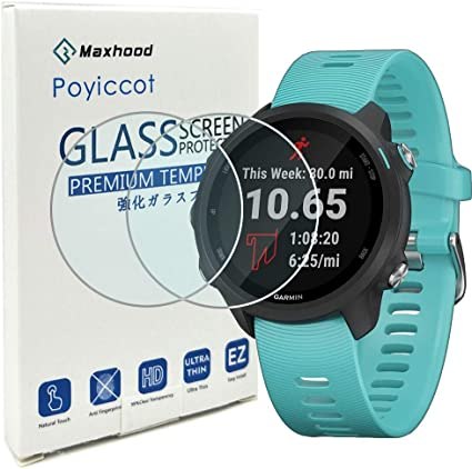 Poyiccot for Garmin Forerunner 245/245 Music Tempered Glass Screen Protector, (2pack) Ultra-Thin 9H Hardness Scratch Resistant Screen Protector Film ...