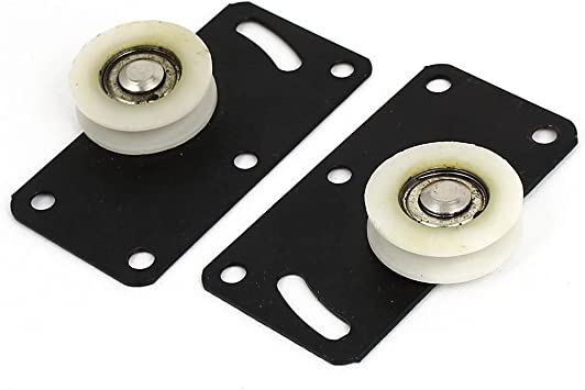 Cikuso 30 mm questway sola rueda placa rectangular puerta corredera rodillo 2 piezas: Amazon.es: Bricolaje y herramientas