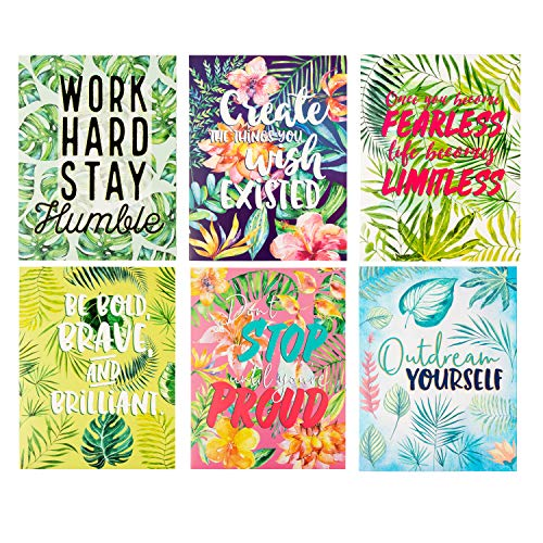 Two Pocket Folders Bulk - 12-Pack Letter Size File Folders, 6 Motivational Designs for Students, Tropical Palm Trees Print, School Folders with Pockets, 12 x 9.25 Inches]()